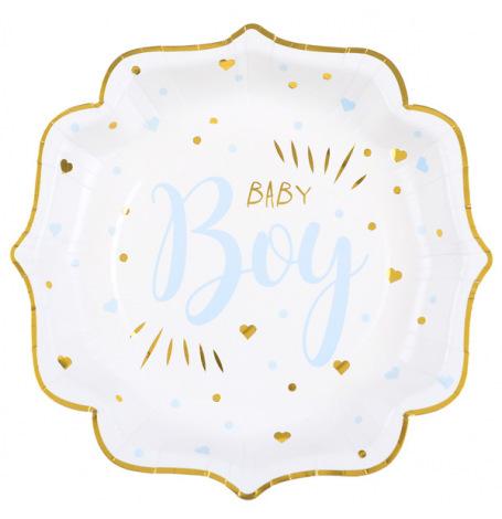 Assiettes en carton Baby Boy Bleu (x5)  Hollyparty