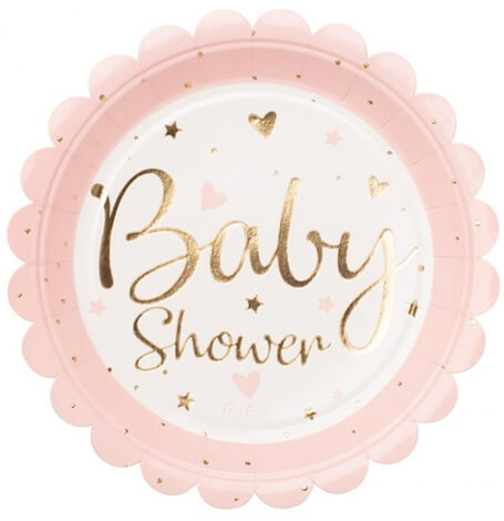 Assiettes en carton Baby Shower Rose & Or (x4)| Hollyparty