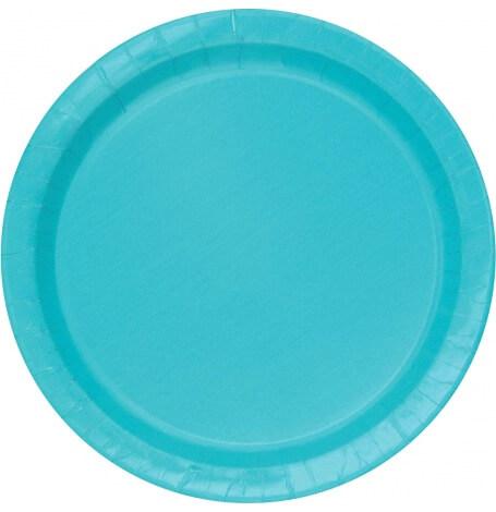 Assiettes en carton Bleu Turquoise Uni (x8) | Hollyparty