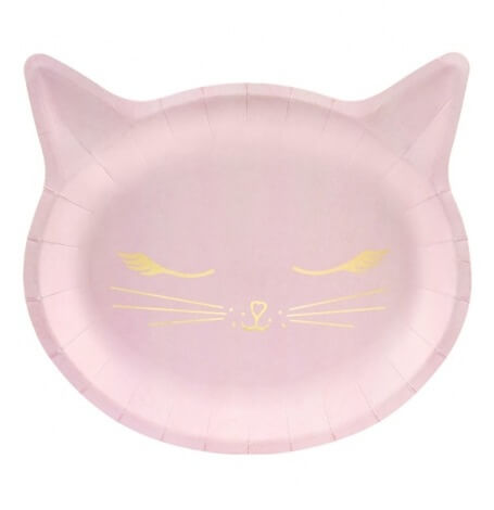 Assiettes en carton Chat Rose & Or (x6)| Hollyparty