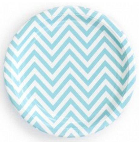 Assiettes en carton Chevron Bleu Pastel (x6)| Hollyparty