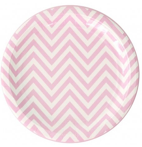 Assiettes en carton Chevron Rose Pastel (x6)| Hollyparty