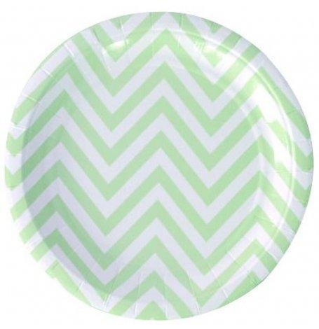 Assiettes en carton Chevron Vert Pastel (x6)| Hollyparty