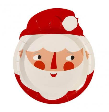Assiettes en carton en forme de Père Noel (x8)| Hollyparty