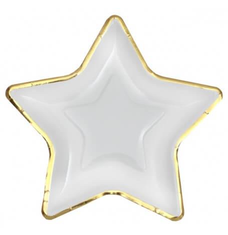Assiettes en carton Etoile Blanc & Or (x5)| Hollyparty