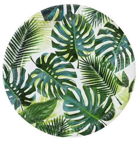 Assiettes en carton Feuillage Vert Tropical (x4)  Hollyparty