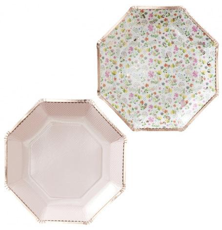 Assiettes en carton Héxagonal floral (x8)| Hollyparty
