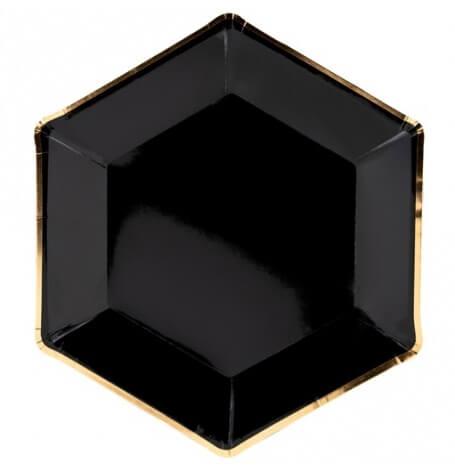 Assiettes en carton Héxagonale Noir & Or (x6)| Hollyparty