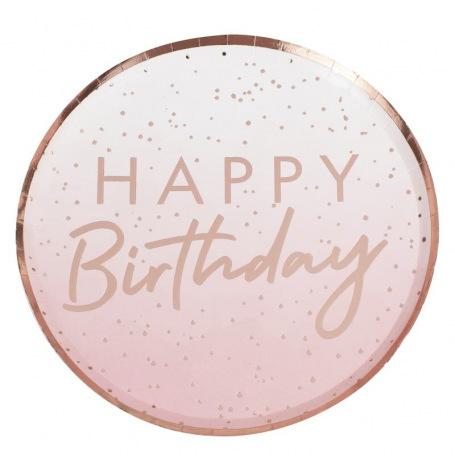 Assiettes en carton Happy Birthday Ombre Rose Gold (x4)| Hollyparty