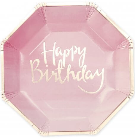 Assiettes en carton Happy Birthday Rose et Or (x8)  Hollyparty