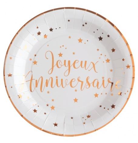 Assiettes en carton Joyeux Anniversaire Rose Gold (x10)| Hollyparty