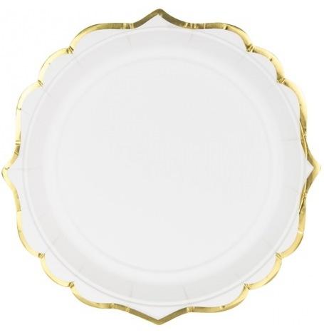 Assiettes en carton Lisière Blanc & Or| Hollyparty