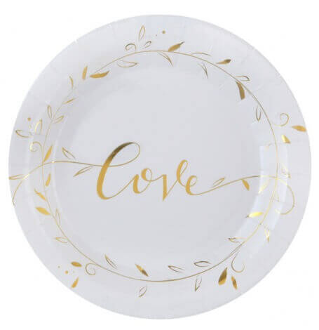 Assiettes en carton Love Blanc & Or (x10) | Hollyparty