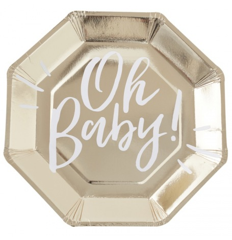 Assiettes en carton Oh Baby Or (x4)| Hollyparty