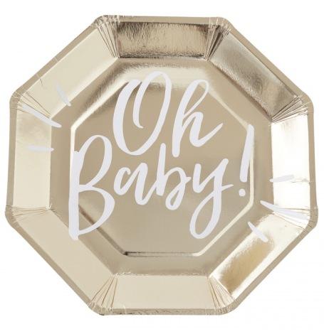 Assiettes en carton Oh Baby Or (x8)  Hollyparty