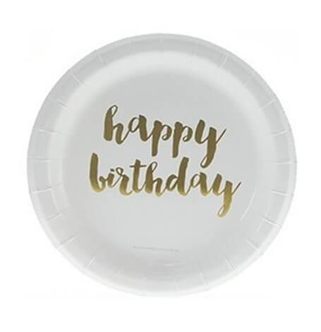 Assiettes en carton Or Happy Birthday (x6)| Hollyparty