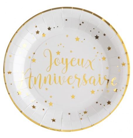 Assiettes en carton Or Joyeux Anniversaire (x10)  Hollyparty