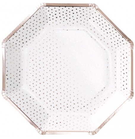 Assiettes en carton Pois Rose Gold (x4)| Hollyparty