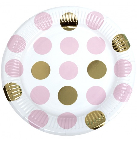 Assiettes en carton à pois Rose & Or (x4)| Hollyparty