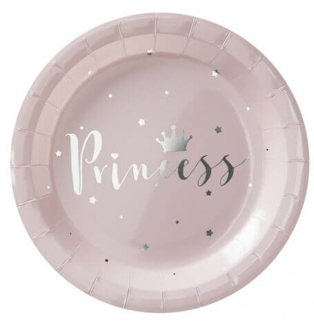 Assiettes en carton Princesse Rose & Argent (x4)| Hollyparty