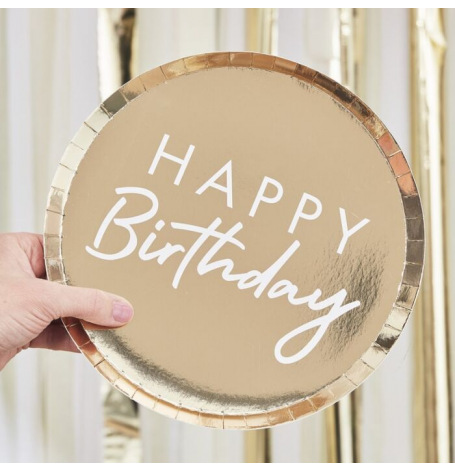Assiettes en carton Rond Happy Birthday Or (x4)