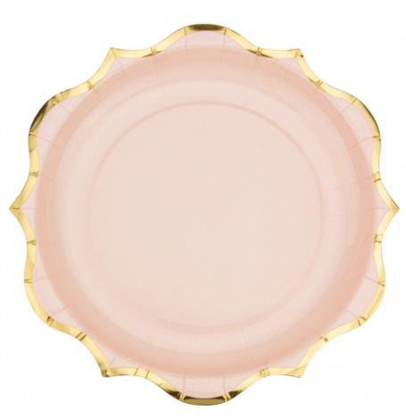 Assiettes en carton Rose Poudré Lisière Or (x8)| Hollyparty