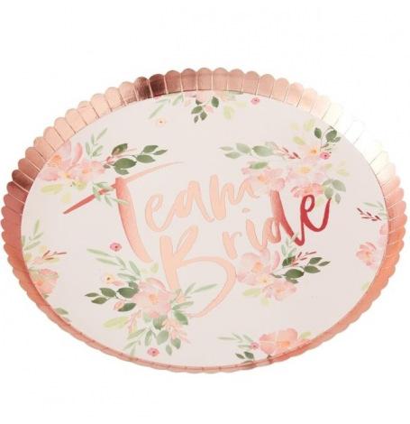 Assiettes en carton Team Bride Floral (x4)  Hollyparty