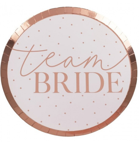 Assiettes en carton Team Bride Rose Gold (x8)| Hollyparty