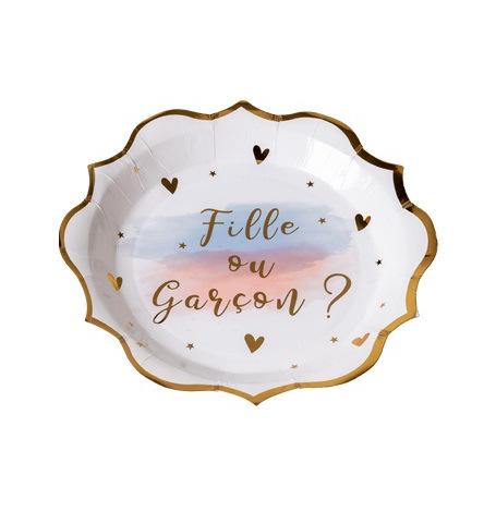 Assiettes Gender Reveal Fille ou Garçon ? (x4) | Hollyparty