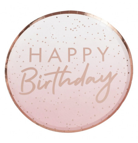 Assiettes Happy Birthday Ombre Rose Gold (x4)| Hollyparty