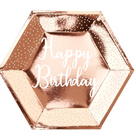 Assiettes Happy Birthday Rose Gold & Pois Blanc (x4)| Hollyparty