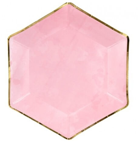 Assiettes Hexagonale Rose & Or (x6)| Hollyparty