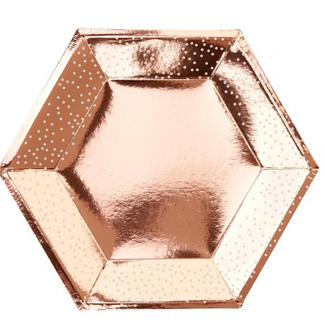 Assiettes Hexagonales Rose Gold Pois Blanc (x8)| Hollyparty