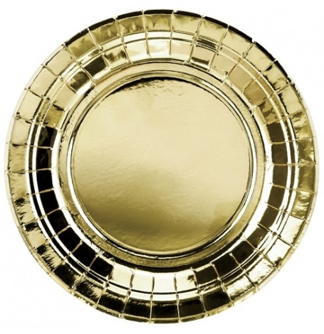 Assiettes rondes en carton or métallisé (x4)  Hollyparty