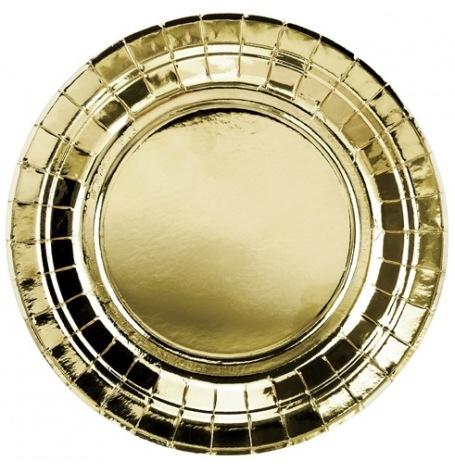 Assiettes rondes en carton or métallisé (x8)| Hollyparty