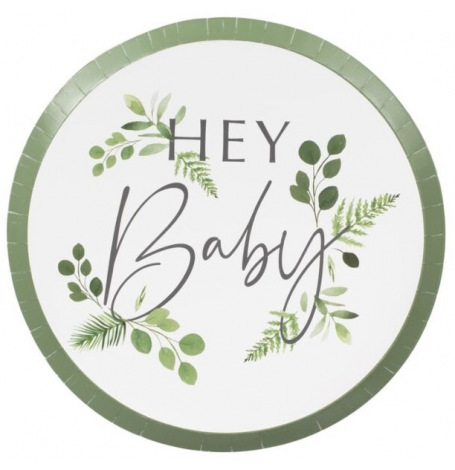 Assiettes Végétal Hey Baby Shower (x8)  Hollyparty