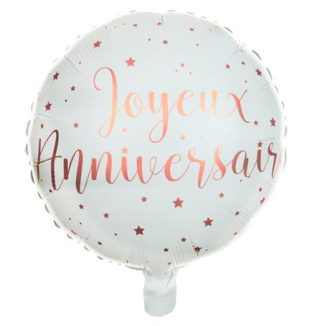 Ballon alu Joyeux Anniversaire Rose Gold | Hollyparty