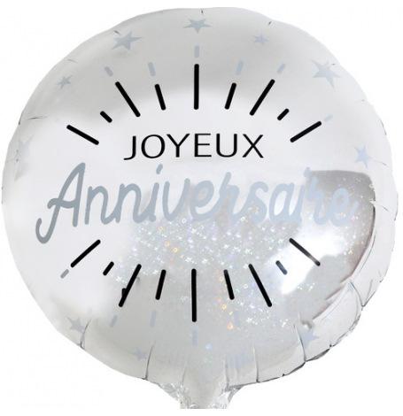 Ballon Aluminium Joyeux Anniversaire Argent | Hollyparty