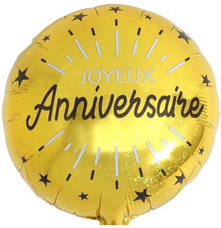 Ballon Aluminium Joyeux Anniversaire Noir & Or | Hollyparty
