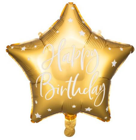 Ballon Etoile Mylar Happy Birthday Or   Hollyparty