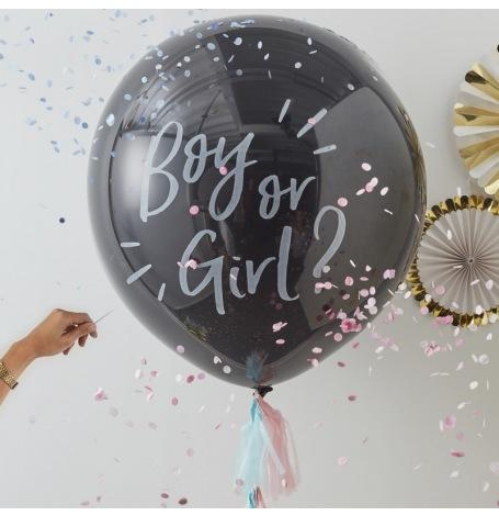 Ballon Géant Confettis Gender Reveal Boy or Girl ?  Hollyparty