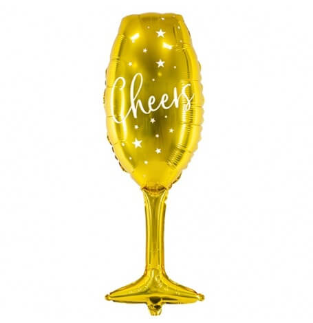 Ballon Mylar Aluminium Champagne Cheers| Hollyparty