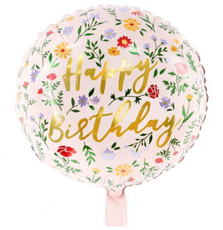 Ballon Mylar Aluminium Happy Birthday Floral | Hollyparty