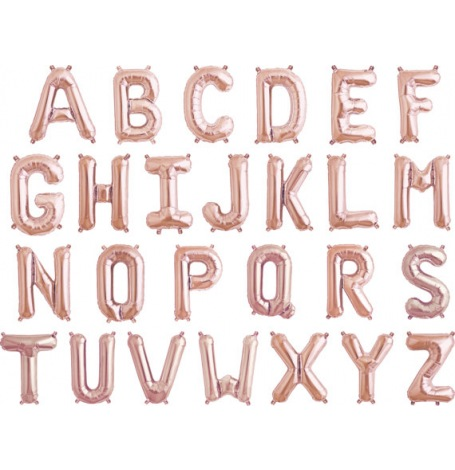 Ballon Mylar Aluminium Lettre Rose Gold Alphabet 36 cm | Hollyparty