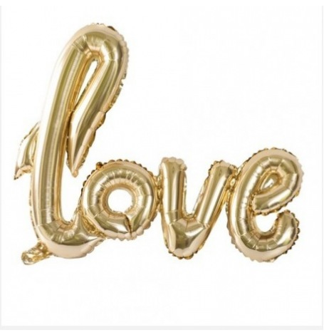 Ballon Mylar Aluminium LOVE Or | Hollyparty