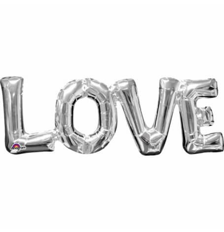 Ballon mylar argent LOVE| Hollyparty