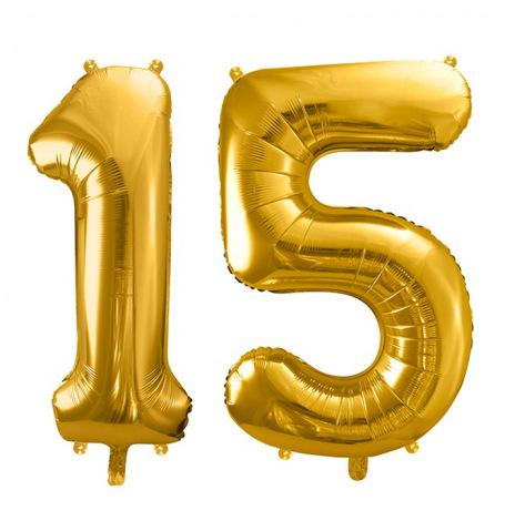 Ballons Chiffre Mylar Aluminium 15 ans Doré   Hollyparty