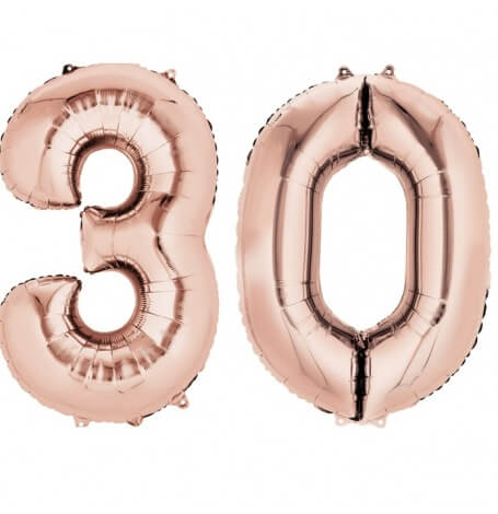 Ballons Chiffre Mylar Aluminium 30 ans Rose Gold | Hollyparty