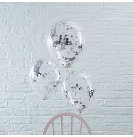 Ballons confettis Argent (x5)| Hollyparty