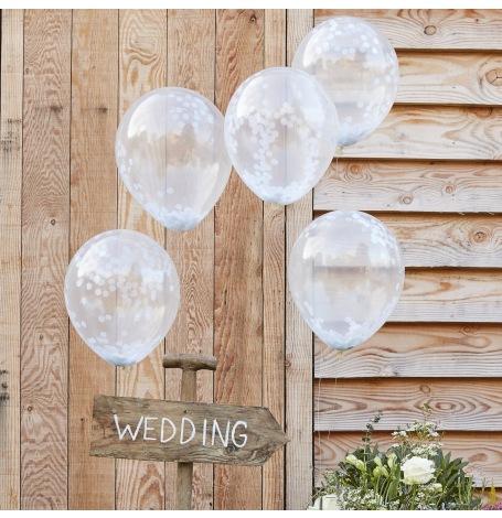 Ballons confettis Blanc (x5)| Hollyparty